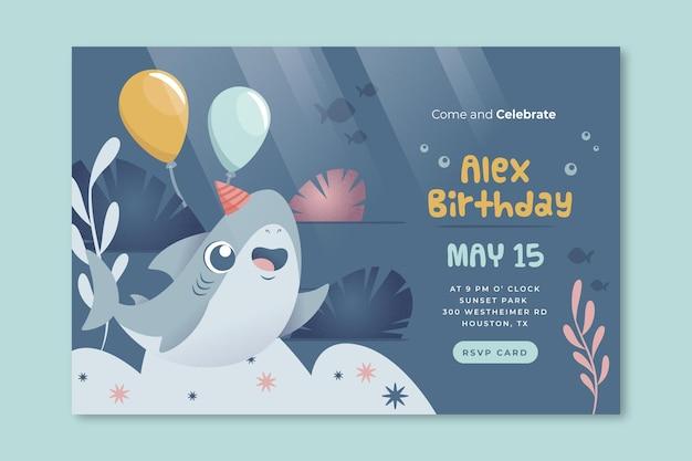 Sjabloon voor spandoek van de verjaardag van kinderen haai en ballonnen