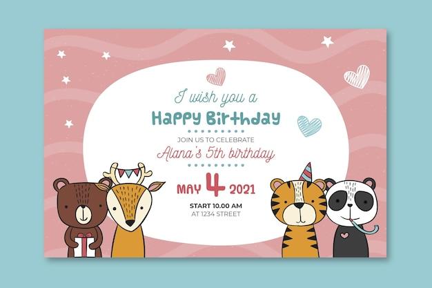 Sjabloon voor spandoek van de verjaardag van kinderen