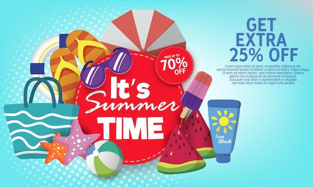 Sjabloon voor spandoek van de zomer super verkoop op kleur achtergrond.