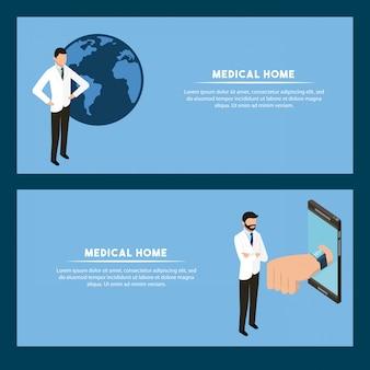 Sjabloon voor spandoek van digitale gezondheid concept