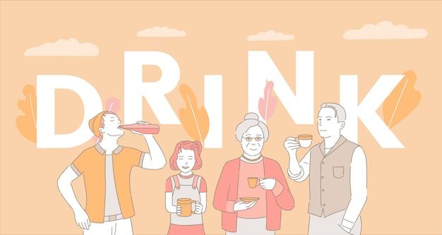 Sjabloon voor spandoek van drinken woord concept. mensen die koffie, thee en frisdrank drinken.