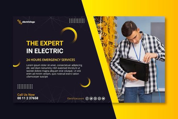 Sjabloon voor spandoek van elektricien man Premium Vector