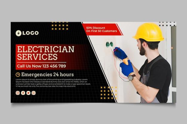 Sjabloon voor spandoek van elektricien service