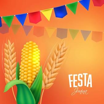 Sjabloon voor spandoek van festa junina-feest