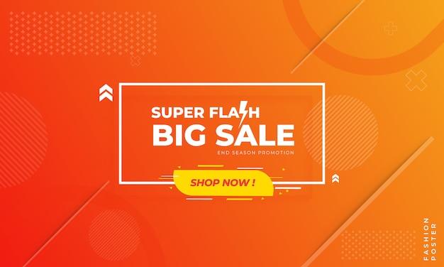 Sjabloon voor spandoek van flash-verkoop, modern met oranje en rood verloop