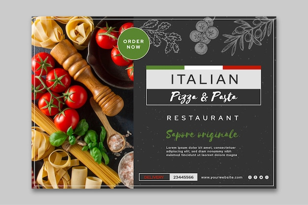 Sjabloon voor spandoek van italiaans eten