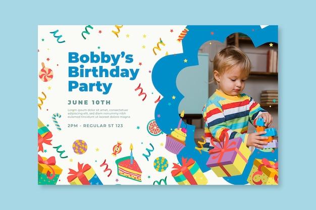 Sjabloon voor spandoek van kinderen verjaardag