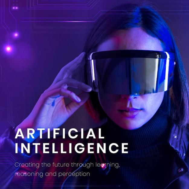 Sjabloon voor spandoek van kunstmatige intelligentie met een vrouw die een slimme bril op de achtergrond draagt