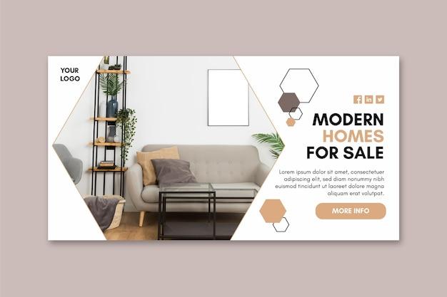 Sjabloon voor spandoek van moderne huizen