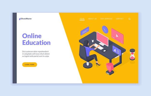 Sjabloon voor spandoek van online onderwijs website