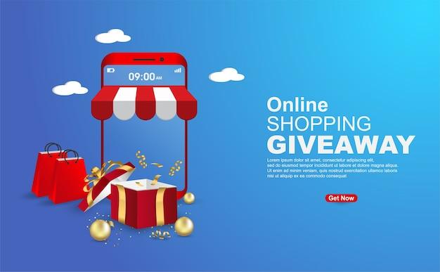 Sjabloon voor spandoek van online winkelen weggeefactie op blauwe achtergrond