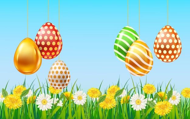 Sjabloon voor spandoek van pasen gekleurde eieren. realistische glans versierd, beschilderde eieren, kleurrijke lentebloemen kamille, paardebloemen, blauwe lucht Premium Vector