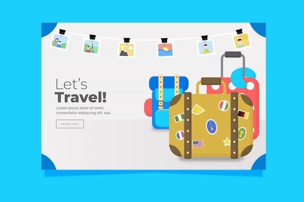 Sjabloon voor spandoek van platte ontwerp reizen