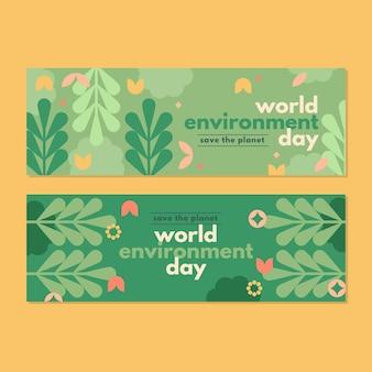 Sjabloon voor spandoek van platte wereld milieu dag