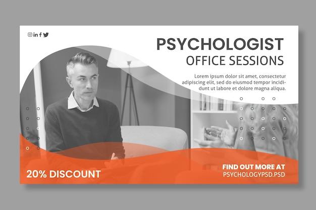 Sjabloon voor spandoek van psychologie kantoor