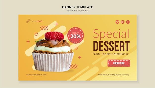 Sjabloon voor spandoek van speciaal dessert eten