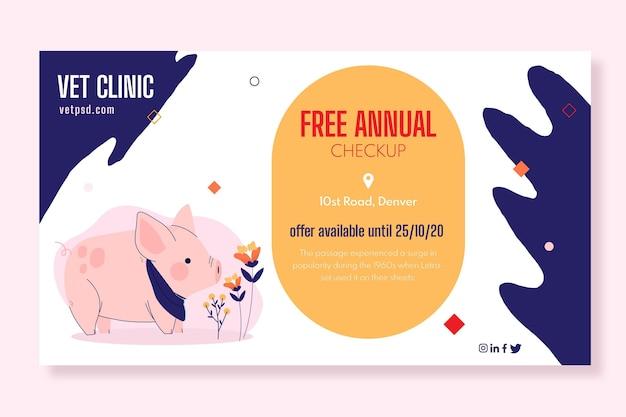 Sjabloon voor spandoek van veterinaire kliniek