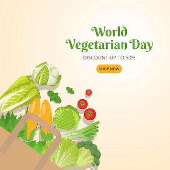 Sjabloon voor spandoek van wereldvegetarische verkoop met groenten die uit een zakillustratie vallen