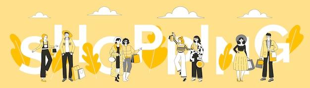 Sjabloon voor spandoek van woord winkelen. verkoop in de winkel, speciale aanbieding poster concept.