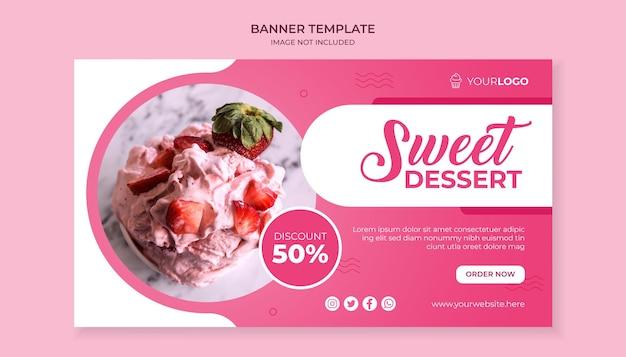 Sjabloon voor spandoek van zoet dessert eten