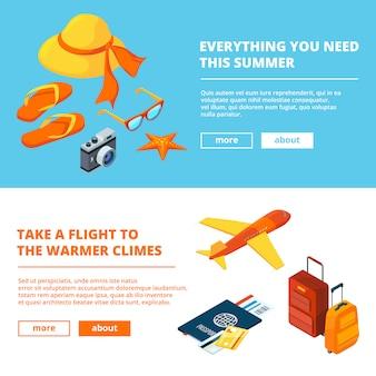 Sjabloon voor spandoek van zomertijd. isometrische illustraties van reizen in de zomer