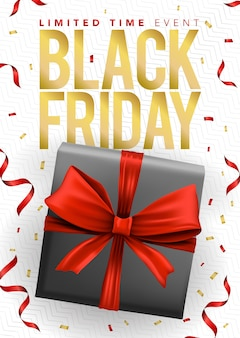 Sjabloon voor spandoek van zwarte doos met rode linten en zwarte vrijdagverkoop