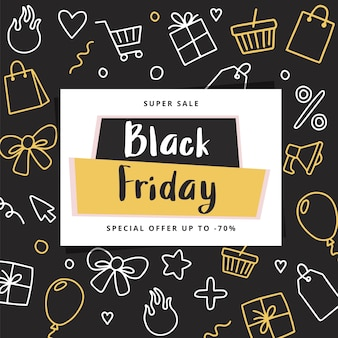 Sjabloon voor spandoek van zwarte vrijdag met doodle elementen