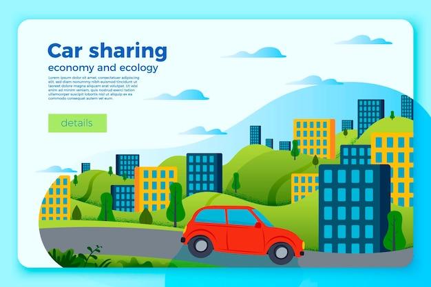 Sjabloon voor spandoek vector heldere auto delen rit. stad en groene heuvels op een helderblauwe achtergrond.