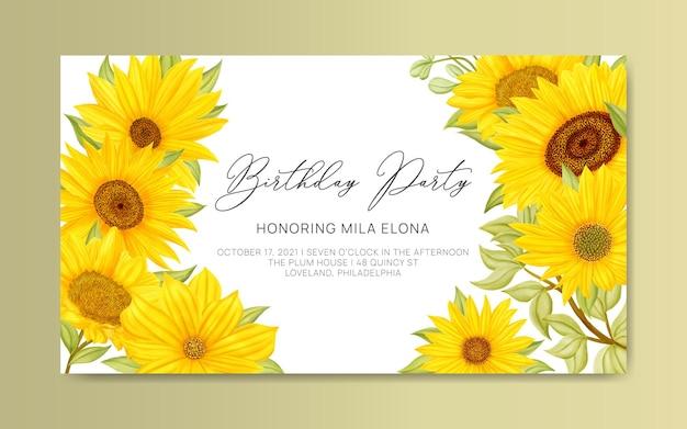 Sjabloon voor spandoek verjaardagsfeestje met aquarel gele zonnebloem