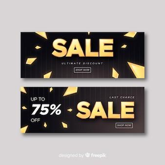 Sjabloon voor spandoek verkoop in gouden stijl
