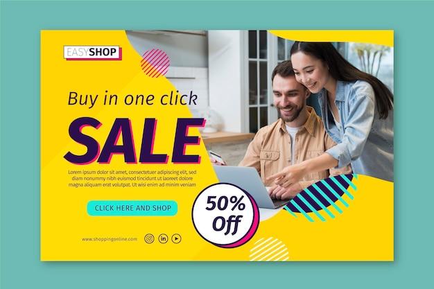 Sjabloon voor spandoek verkoop met foto