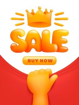 Sjabloon voor spandoek verkoop met gele hand en kroon.