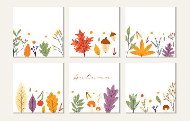 Sjabloon voor spandoek versierd met herfst trendy elementen en tekst. vallende bladeren bes en paddestoel. plakboekset voor seizoenskaarten. platte natuurlijke vectorillustratie voor reclame, promotie.