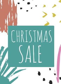 Sjabloon voor spandoek voor creatieve verkoop vakantie website. kerstmis en nieuwjaar handgetekende illustraties voor social media banners, posters, e-mail en nieuwsbrief ontwerpen, advertenties, promotiemateriaal.
