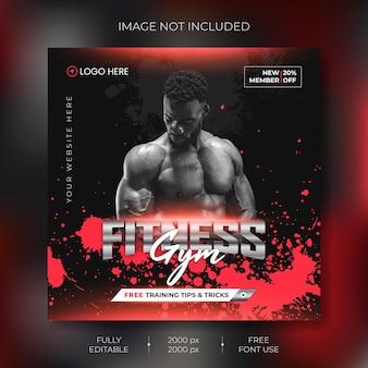Sjabloon voor spandoek voor fitness sociale media vector premium