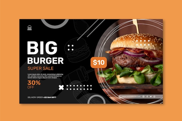 Sjabloon voor spandoek voor hamburgers