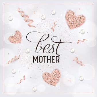 Sjabloon voor spandoek voor moederdag met gouden glitterharten en beste moedertekst. moederdag wenskaart kalligrafie design met gloeiende elementen. vector illustratie