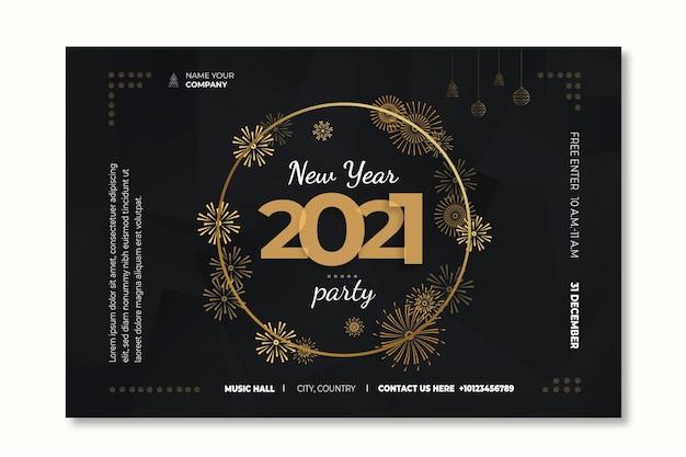 Sjabloon voor spandoek voor nieuwjaar 2021 Premium Vector