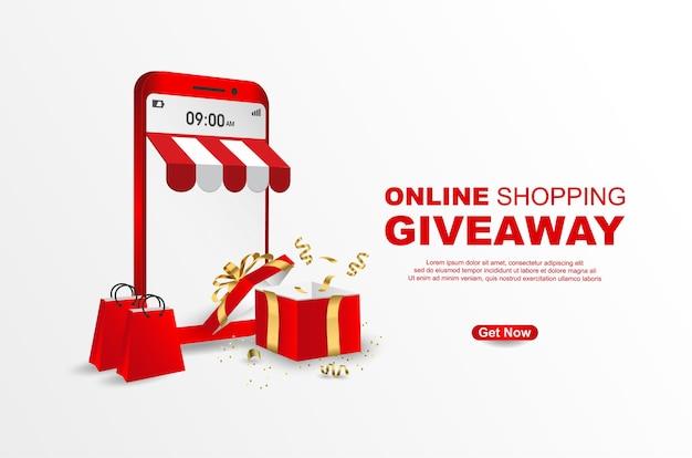 Sjabloon voor spandoek voor online winkelen weggeefactie op mobiel