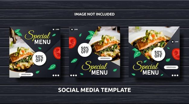 Sjabloon voor spandoek voor post-eten voor sociale media ingesteld voor promotie
