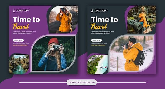 Sjabloon voor spandoek voor promotie van sociale media voor reizen