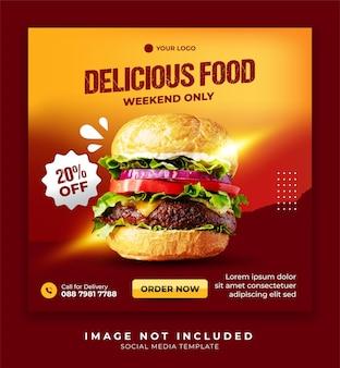 Sjabloon voor spandoek voor sociale media voor promotie van hamburgers