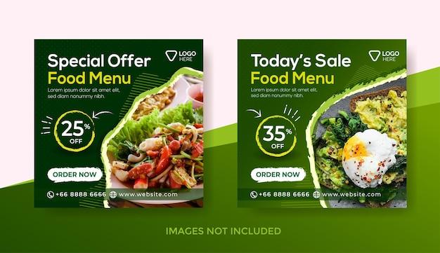 Sjabloon voor spandoek voor voedselmenu of sjabloon voor posts op sociale media of sjabloon voor spandoek voor heerlijke menu's