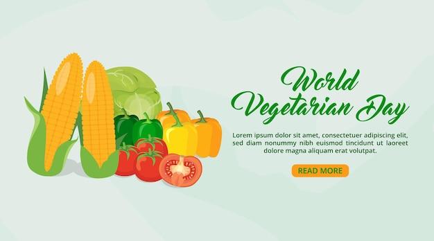 Sjabloon voor spandoek wereld vegetarische dag met groenten en aquarel achtergrond