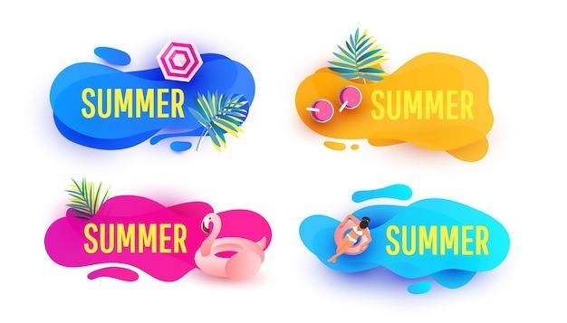 Sjabloon voor spandoek zomer verkoop set vloeibare abstracte geometrische zeepbel met tropische bladeren