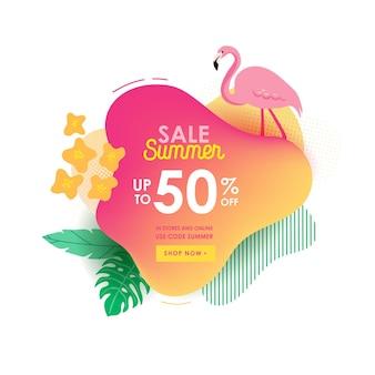 Sjabloon voor spandoek zomer verkoop. vloeibare abstracte geometrische zeepbel met tropische bloemen en flamingo, tropische achtergrond en achtergrond, promo-badge voor seizoensaanbieding, promotie, reclame. vectorillustratie