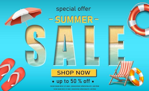 Sjabloon voor spandoek zomerverkoop horizontale oriëntatie met slippers zonnebank en zee