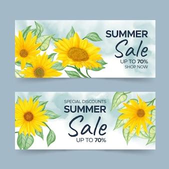 Sjabloon voor spandoek zomerverkoop met handgeschilderde aquarel zonnebloem