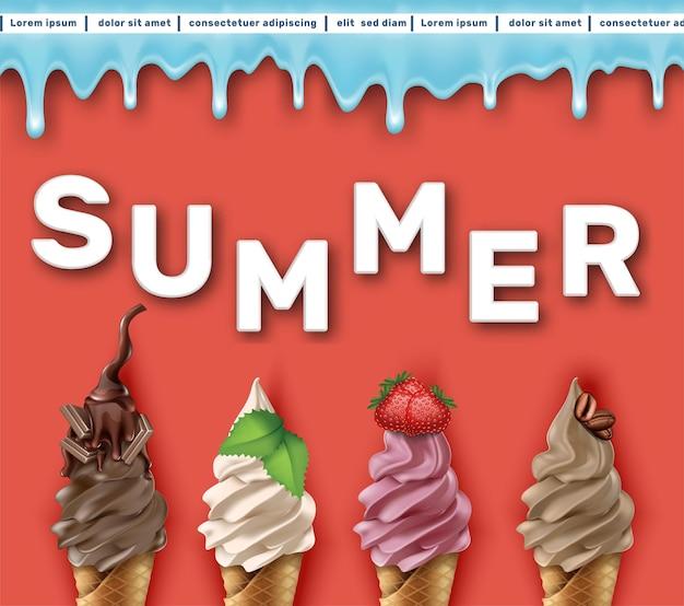 Sjabloon voor spandoek zomerverkoop met ijs