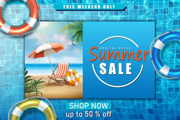Sjabloon voor spandoek zomerverkoop met zonnebank op zee met parasol en zwembad met opblaasbare ringen
